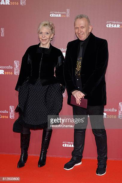 Tonie Marshall and JeanPaul Gaultier arrive at The Cesar Film Awards 2016 at Theatre du Chatelet on February 26 2016 in Paris France