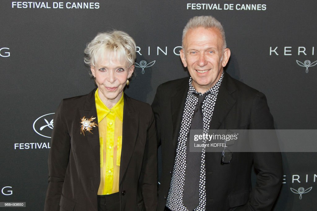 Tonie Marshall and Jean-Paul Gaultier attend the Women in Motion Awards Dinner at the 70th Cannes Film Festival at Place de la Castre on May 21, 2017 in Cannes, France.