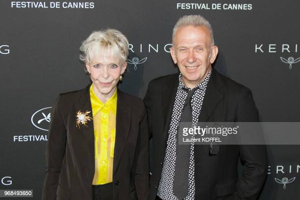 Tonie Marshall and JeanPaul Gaultier attend the Women in Motion Awards Dinner at the 70th Cannes Film Festival at Place de la Castre on May 21 2017...