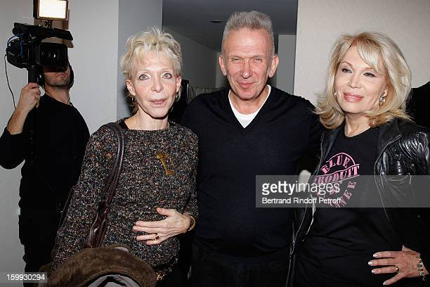 Tonie Marshall JeanPaul Gaultier and Amanda Lear pose backstage following the JeanPaul Gaultier Spring/Summer 2013 HauteCouture show as part of Paris...