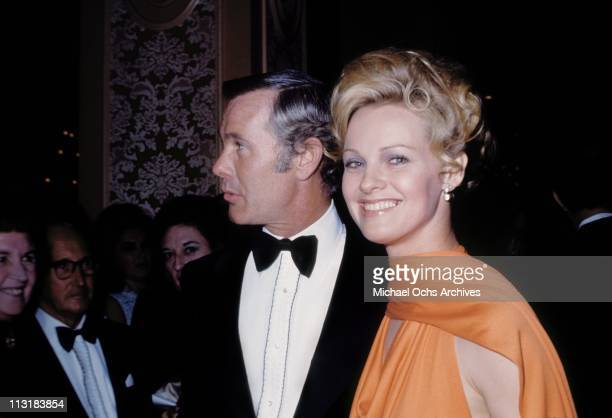 Tonight Show host Johnny Carson and actress Angel Tompkins attend an event in February 1971 in Los Angeles California