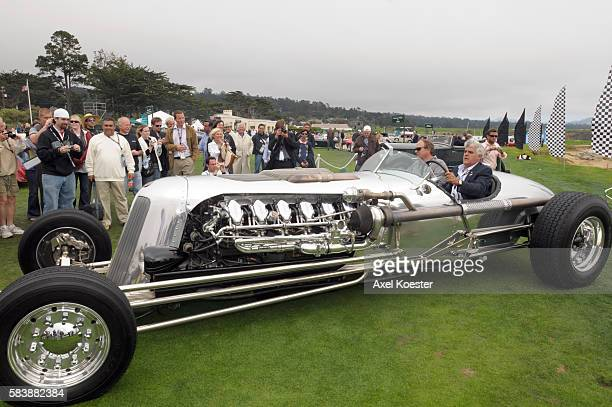 Tonight Show TV host Jay Leno participates in the 2008 Pebble Beach Concours d'Elegance driving his custom made tank car named for the 30 liter V12...