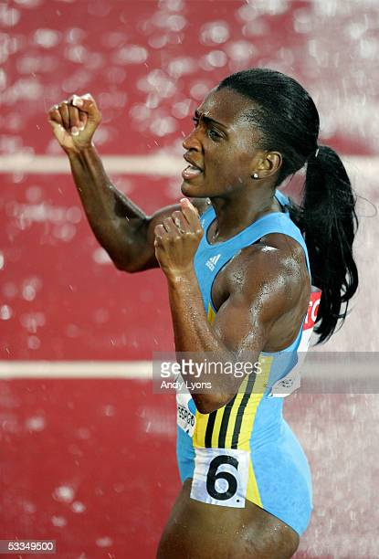 Tonique WilliamsDarling of Bahamas celebrates after she won the womens 400 metres final at the 10th IAAF World Athletics Championships on August 10...
