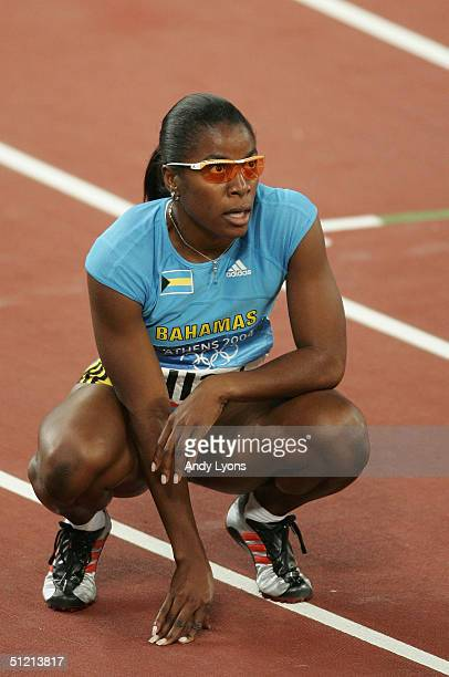 Tonique WilliamsDarling of Bahamas is seen after she won gold in the women's 400 metre final on August 24 2004 during the Athens 2004 Summer Olympic...