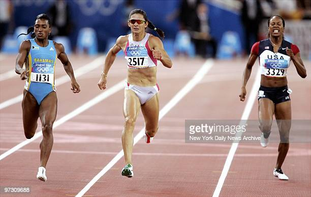Tonique WilliamsDarling of the Bahamas Ana Guevara of Mexico and Sanya Richards of the US compete in the women's 400meter race at the 2004 Summer...