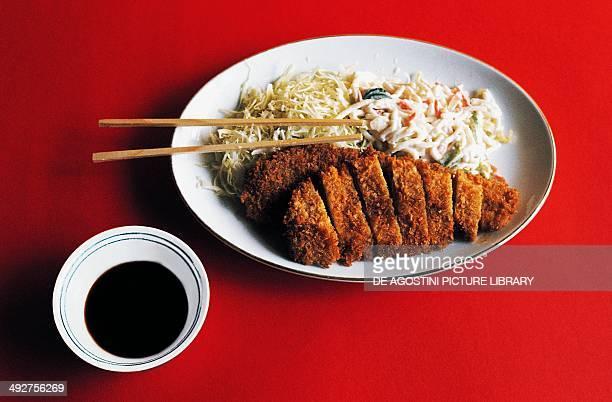 Tonkatsu, breaded pork cutlet dish, Japan.
