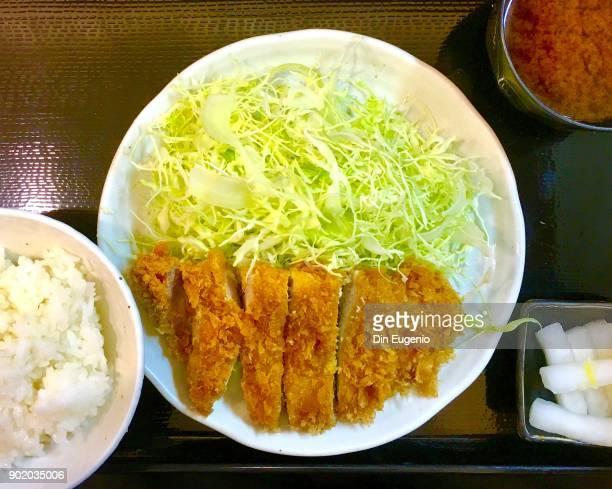 tonkatsu close up - tonkatsu imagens e fotografias de stock