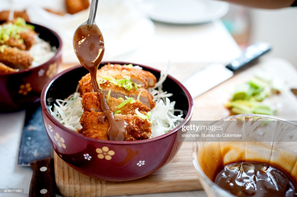 Tonkatsu with noodles and sauce in bowl, Japan : Photo