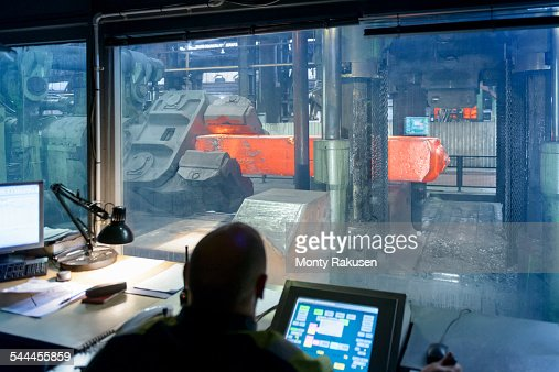 4,500 tonne forging press control room in steelworks