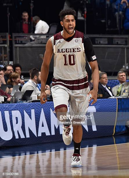 Tonny TrochaMorelos of the Texas AM Aggies yells after making a basket against the Kentucky Wildcats during the first half of the SEC Basketball...