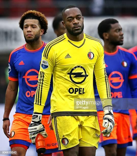 Tonny Vilhena Kenneth Vermeer Miguel Nelom of Feyenoord after 42 loss against AZ during the Dutch Eredivisie match between AZ Alkmaar and Feyenoord...