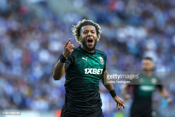 Tonny Vilhena of FC Krasnodar celebrates scoring a goal during the UEFA Champions League Third Qualifying Round match between FC Porto and FC...
