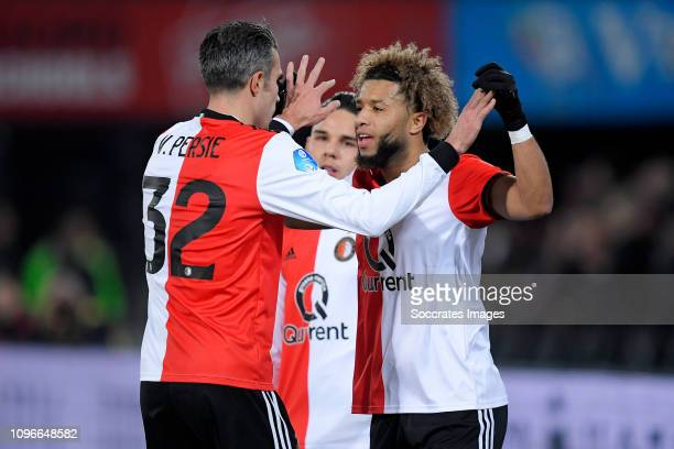 Tonny Vilhena of Feyenoord celebrates 10 with Robin van Persie of Feyenoord during the Dutch Eredivisie match between Feyenoord v De Graafschap at...