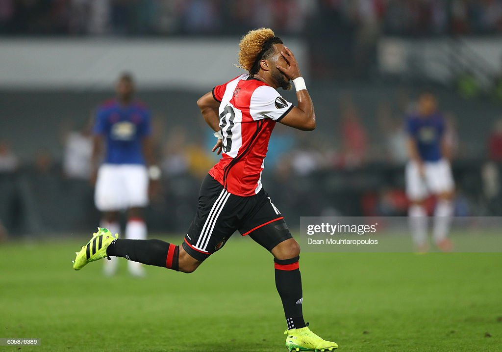 Tonny Vilhena of Feyenoord celebrates scoring his sdies first goal during the UEFA Europa League Group A match between Feyenoord and Manchester United FC at Feijenoord Stadion on September 15, 2016 in Rotterdam, .