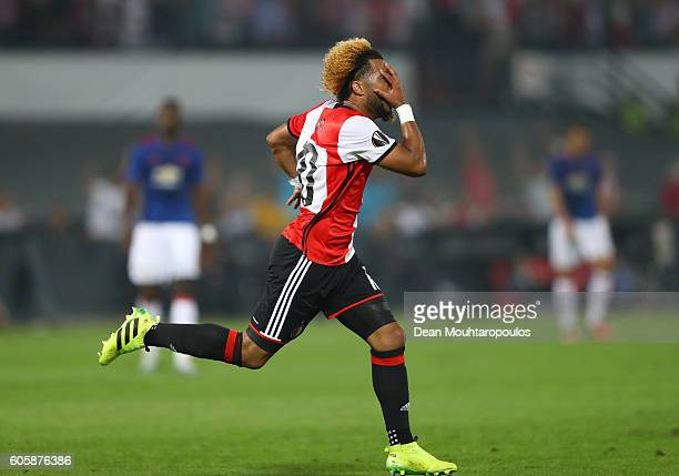 Tonny Vilhena of Feyenoord celebrates scoring his sdies first goal during the UEFA Europa League Group A match between Feyenoord and Manchester...