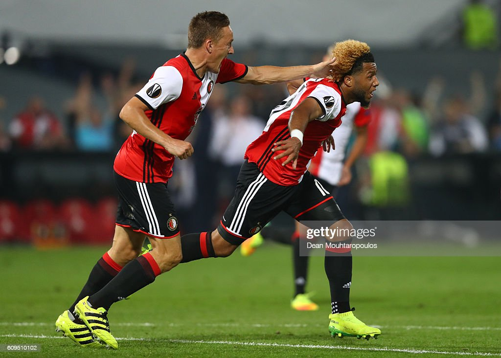 Tonny Vilhena of Feyenoord celebrates scoring his sides first goal during the UEFA Europa League Group A match between Feyenoord and Manchester United FC at Feijenoord Stadion on September 15, 2016 in Rotterdam, .