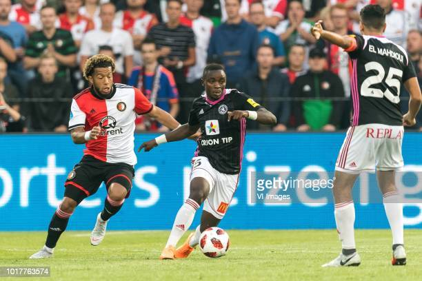 Tonny Vilhena of Feyenoord Rueben Yem of AS Trencin Achraf El Mahdioui of AS Trencin during the UEFA Europa League third round qualifying second leg...