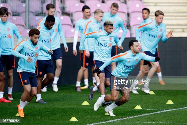 Tonny Vilhena of Holland Memphis Depay of Holland during the Training Holland in Geneve at the Stade de Geneve on March 25 2018 in Geneve Switzerland