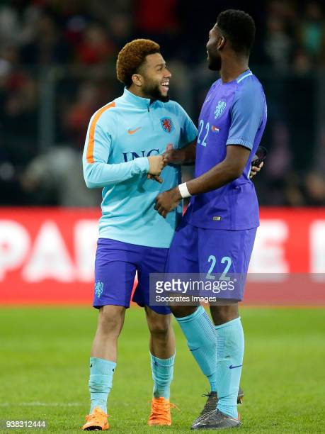 Tonny Vilhena of Holland Timothy Fosu Mensah of Holland celebrates the victory during the International Friendly match between Portugal v Holland at...