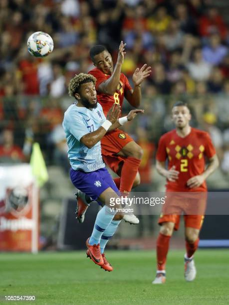 Tonny Vilhena of Holland Youri Tielemans of Belgium Toby Alderweireld of Belgium during the International friendly match between Belgium and The...
