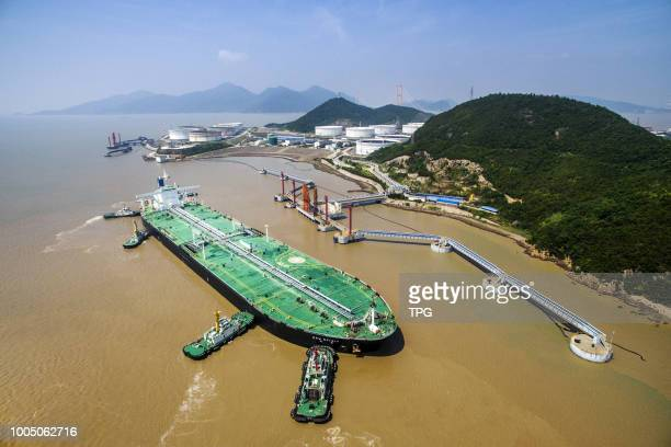 273 tons of Oman crude oil which exported from Middle East arrives Zhoushan port on 24 July 2018 in ZhoushanZhejiang China