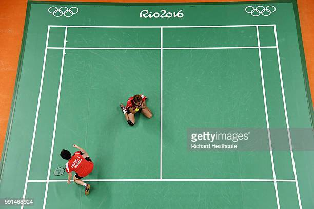Tontowi Ahmad and Liliyana Natsir of Indonesia celebrate after winning the Mixed Doubles Gold Medal Match against Peng Soon Chan and Liu Ying Goh of...