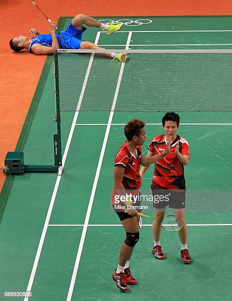 Tontowi Ahmad and Lilyana Natsir of Indonesia play a Mixed Doubles Semifinal match against Nan Zhang and Yunlei Zhao of China on Day 10 of the 2016...