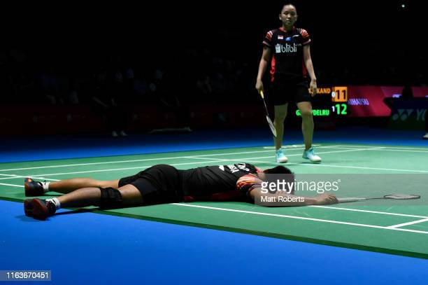Tontowi Ahmad and Winny Oktavina Kandow of Indonesia compete against Thom Gicquel and Delphine Delrue of France during day one of the Daihatsu Yonex...