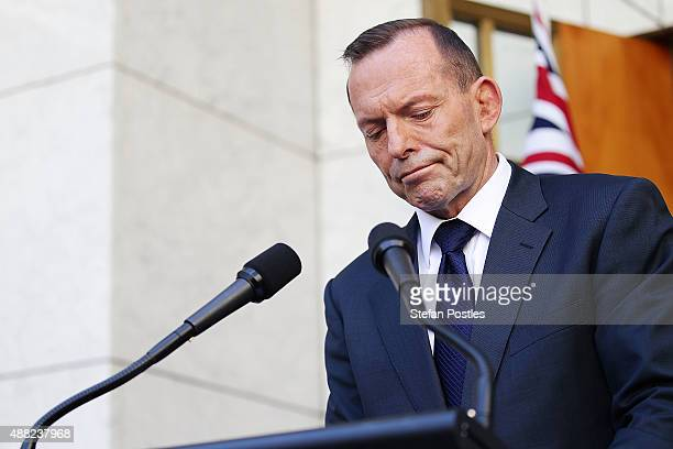 Tony Abbott addresses media for the last time as Prime Minister at Parliament House on September 15 2015 in Canberra Australia Tony Abbott lost the...