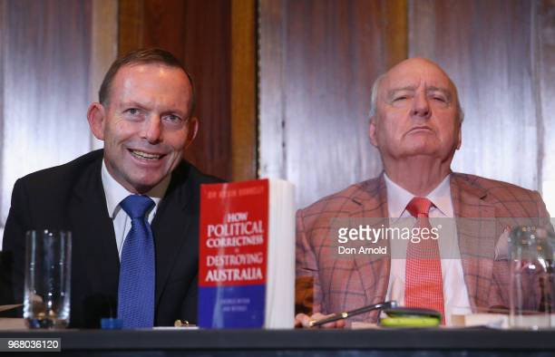 Tony Abbott and Alan Jones look on during the launch of Kevin Donnelly's book 'How Political Correctness is Destroying Australia' on June 6, 2018 in...