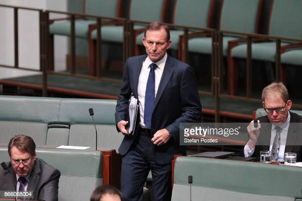 Tony Abbott arrives to House of Representatives question time at Parliament House on October 25 2017 in Canberra Australia The Sydney and Melbourne...