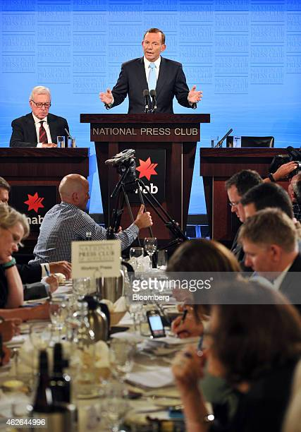 Tony Abbott Australia's prime minister center speaks at the National Press Club in Canberra Australia on Monday Feb 2 2015 Abbott sought to shore up...