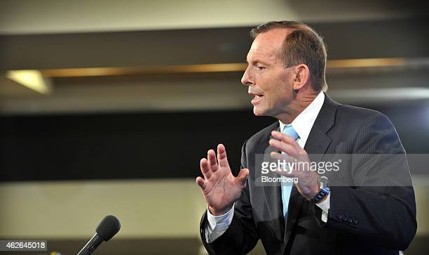 Tony Abbott Australia's prime minister gestures as he speaks at the National Press Club in Canberra Australia on Monday Feb 2 2015 Abbott sought to...