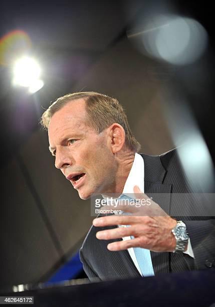 Tony Abbott Australia's prime minister speaks at the National Press Club in Canberra Australia on Monday Feb 2 2015 Abbott sought to shore up his...