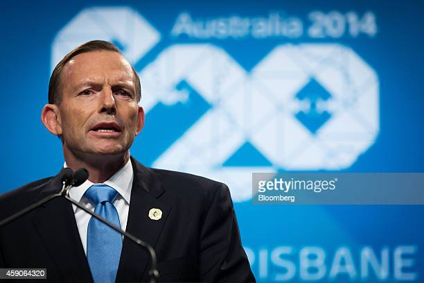 Tony Abbott Australia's prime minister speaks during a news conference at the Group of 20 summit in Brisbane Australia on Sunday Nov 16 2014 Group of...
