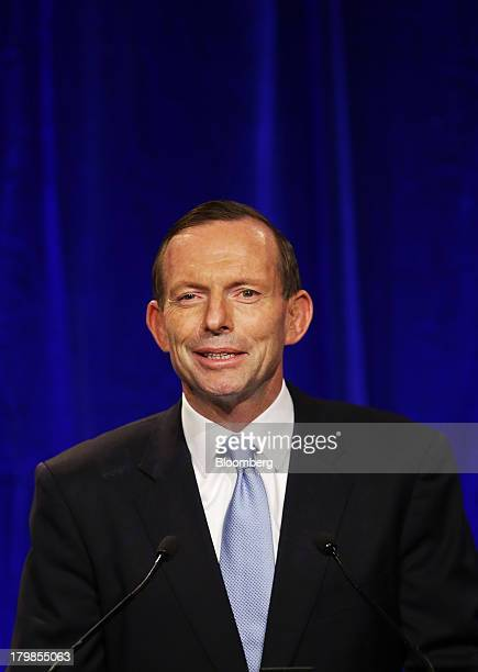 Tony Abbott Australia's prime ministerelect delivers his victory speech at the LiberalNational coalition's election function in Sydney Australia on...