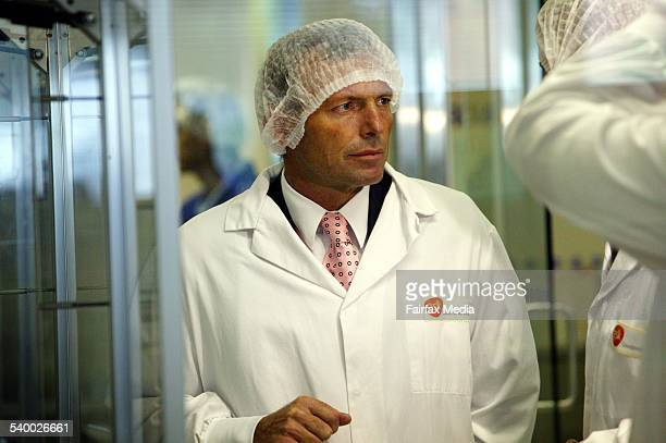 Tony Abbott Federal Health Minister at the relaunch of Relenza production at Glaxo Smith Kline 30 January 2006 AFR Picture by JESSICA SHAPIRO