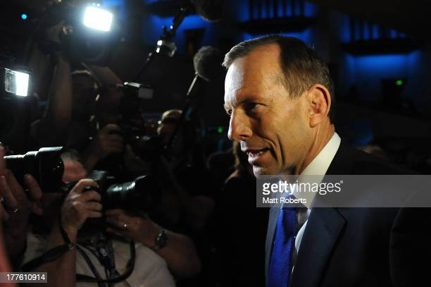 Tony Abbott leaves the 2013 Coalition Campaign Launch at the Queensland Performing Arts Centre on August 25 2013 in Brisbane Australia Opposition...
