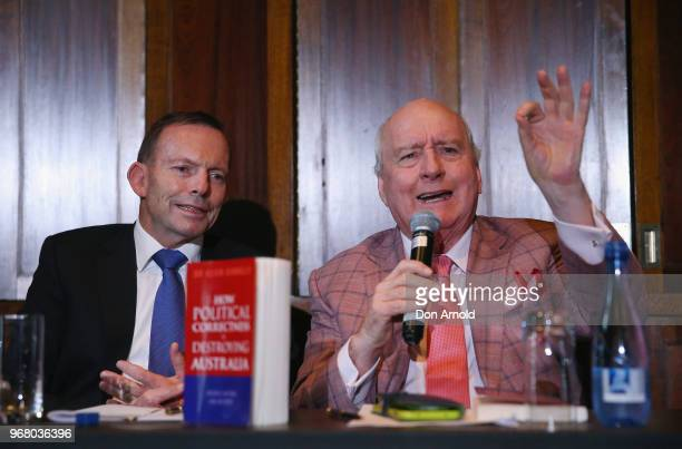 Tony Abbott looks on as Alan Jones makes a point at the launch of Kevin Donnelly's book 'How Political Correctness is Destroying Australia' on June 6...