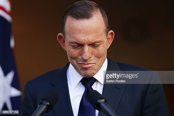 Tony Abbott makes his final statement to the media as Prime Minister at Parliament House on September 15 2015 in Canberra Australia Tony Abbott lost...