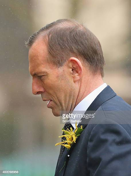Tony Abbott Prime Minister of Australia arrives to attend a a national memorial service as Australians mourn the loss of all victims of Malaysia...