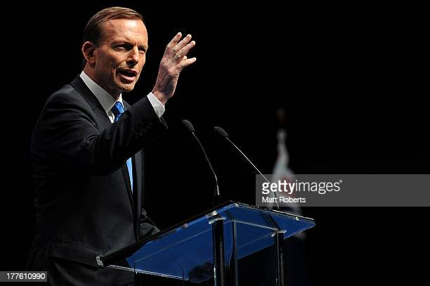 Tony Abbott speaks during the 2013 Coalition Campaign Launch at the Queensland Performing Arts Centre on August 25 2013 in Brisbane Australia...
