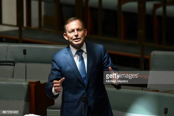 Tony Abbott speaks for amendments to the marriage eqaulity bill at Parliament House on December 7 2017 in Canberra Australia After the Marriage...