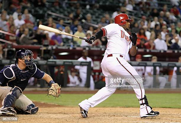 Tony Abreu of the Arizona Diamondbacks hits a single against the San Diego Padres during the seventh inning of the major league baseball game at...