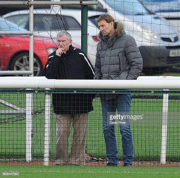 Tony Adams ex Arsenal player and David Pleat former Tottenham Manager watch the Barclays Premier U21 match between Arsenal U21 and West Bromwich...