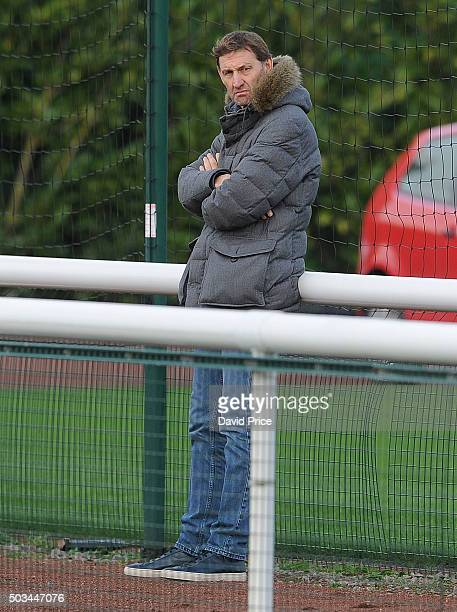 Tony Adams ex Arsenal player watches the Barclays Premier U21 match between Arsenal U21 and West Bromwich Albion U21 at London Colney on January 5...