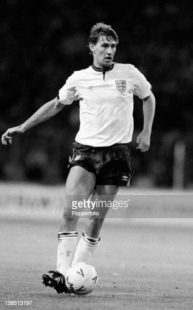 Tony Adams in action for England during their friendly International match against Denmark at Wembley Stadium London on 14th September 1988 England...
