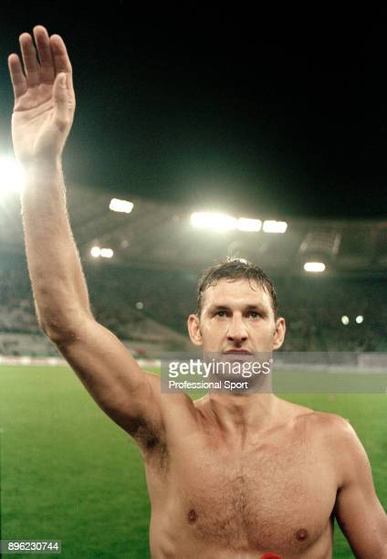 Tony Adams of England celebrates qualification for the 1998 FIFA World Cup in France after securing a draw in the last qualifier between Italy and...