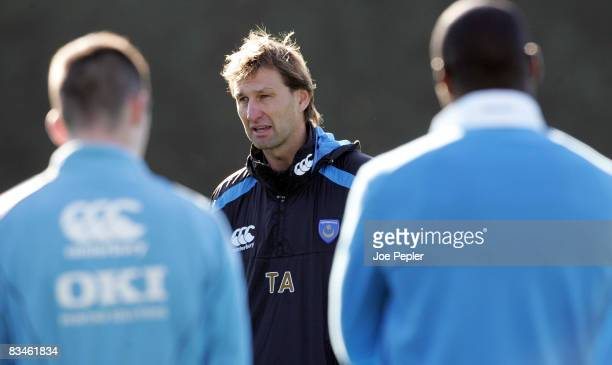 Tony Adams takes his first training session after being appointed as the new manager of Portsmouth FC at Portsmouth's training ground on October 28...