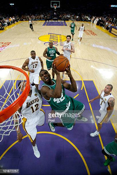 Tony Allen of the Boston Celtics goes to the basket over Shannon Brown of the Los Angeles Lakers in Game Two of the 2010 NBA Finals at Staples Center...